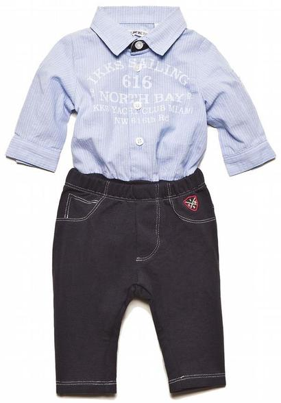 Navy Blue Shirt romper and matching trouser outfit - Cargo