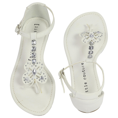 White Butterfly Diamante Sandals-Kid Fille