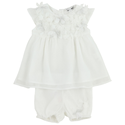 White dress with floral detail and matching bloomers - Innocence