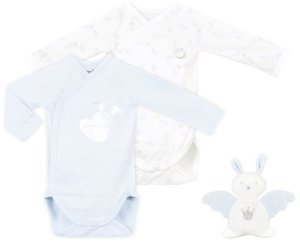 Romper and doudou toy gift set in blue, white and silver