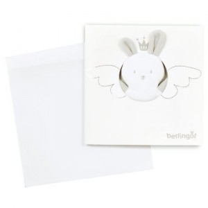 Love messager gift card, envelope and doudou toy in white and silver