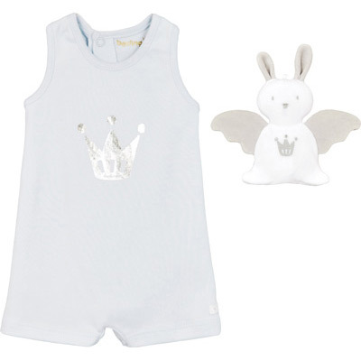 Pale blue and silver romper and doudou in a beautiful box set