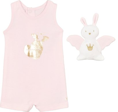 Sleeveless pink and gold romper and doudou in a gift box