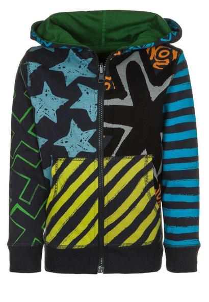 Modesto - A reversible navy blue hoodie with stripe and star detail