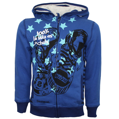 Pintado - A blue hoodie with shoe and pale blue star detail