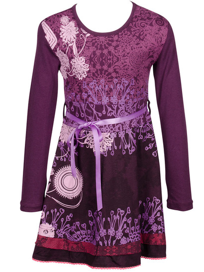 Nerine - Purple long sleeve dress with floral pattern and purple bow at the waist.