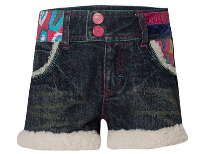 Biescas - Navy denim shorts with fluffy trim and detailed waistband.