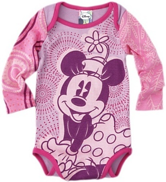 Ney - Pink long sleeve romper with Minnie Mouse