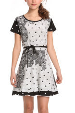 Vetive black, white and grey patterned short sleeve dress with black satin ribbon belt