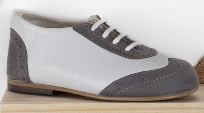 White and grey leather brogue lace ups