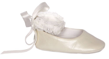 Ivory Ballerina ankle strap with satin ribbon and flower detail