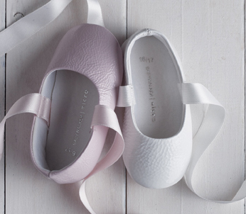 Baby Ballerina slippers in white or pink