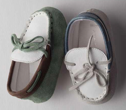 Mint and brown or pale blue and white hand made mocassin