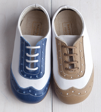 White and Electric Blue leather brogue lace ups