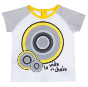 Redos white short sleeve Tshirt with graphic geometric detail in bright yellow, black and grey