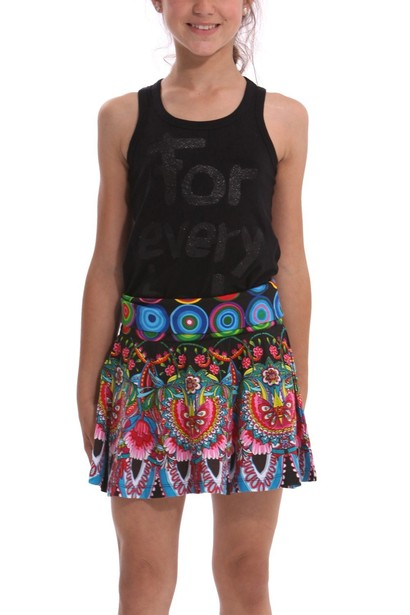 Evi black skirt with bright floral coloured patterns