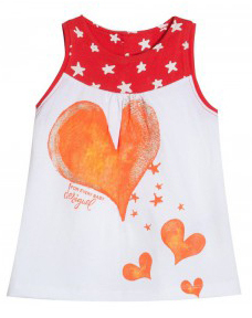 Topix white short sleeve dress with red trim and orange hearts