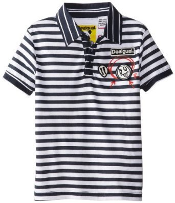 Patrinio black and white striped short sleeved polo shirt