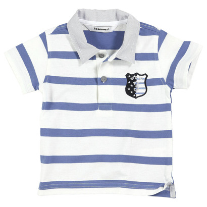 Electric blue striped polo