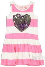 Tinus neon pink and white stripe sleeveless dress with a silver sequin heart