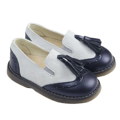 Off White and blue leather loafers
