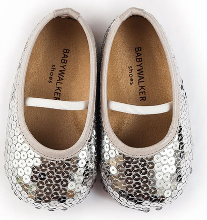 Ballerina shoes covered in silver sequins